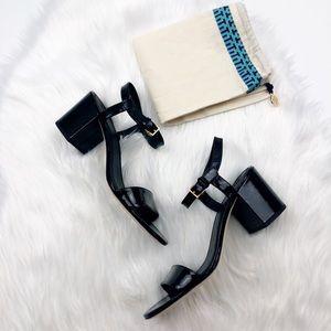 New Tory Burch Laurel Black Patent Sandals